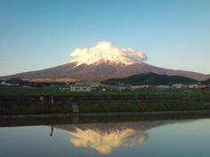 Mt. Fuji from Fujiyoshida-city on May 5. This is not a lake but a rice field.