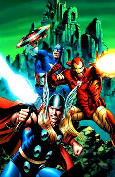 Thor, Captain America and Iron Man by Steven Epting
