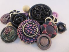 Vintage buttons. Cottage chic mix of purple black and by JessEBees, $8.95