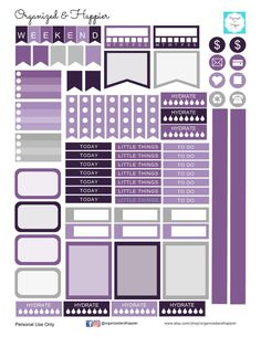 Free Printable Purple Planner Stickers Weekly Kit - Organized and Happier