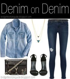 NEW POST! Denim on Denim  http://bridgettesstyleguide.blogspot.com/2014/06/denim-on-denim.html   #denim #denimondenim #necklace #bag #casual #clothes #chambray #jeans #jewelry #fashion #fall #style #shoes #spring #summer #ootd #outfit #top #winter #sandals #belt #studs #nastygal #rebeccaminkoff #jbrand #jbrandjeans #jcrew #houseofharlow