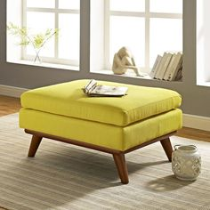 Modway Furniture Engage Sunny Yellow fabric tufted ottoman Whether relaxing after a long Yellow Fabric, Upholstered Fabric, Mid Century, Fabric Ottoman, Ottoman Bench, Ottoman, Modway, Furniture, Modway Furniture