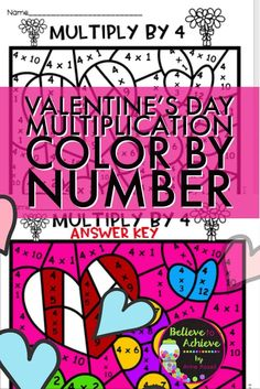 Valentine's Day Multiplication Color by Number- 2's to 12's This is a colorful set of multiplication color by number sheets. This set is one page per 2's to 12's, so 11 sheets altogether! I've included answer keys, too! Students solve the multiplication facts then color the picture by the code!  Every picture is different! So much fun!
