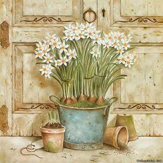 Art Print: Potted Flowers II by Eric Barjot : Decoupage Vintage, Decoupage Paper, Vintage Paper, Vintage Art, Vintage Style, Posters Vintage, Vintage Images, Foto Transfer, Decoupage Printables