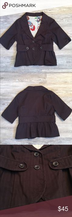 Anthropologie ETT twa Livia jacket EUC. Nipped at the waist to create a classically feminine silhouette. Has vertical stripes in the material, 3-quarter sleeves, button enclosure. Anthropologie Jackets & Coats Blazers