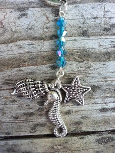 Blue Ocean Shell Seahorse Starfish Beaded Charm by StoneCharms