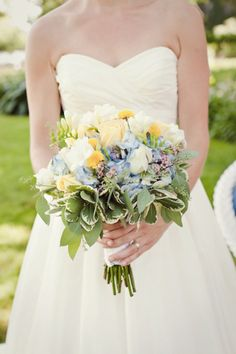 This Rockford wedding by Turner Creative Photography is packing some serious charm. From the gorgeous garden-inspired stationery suite that the graphic designer bride created herself to the darli. Bridal Bouquet Blue, Bride Bouquets, Bridesmaid Bouquet, Blue Bridal, Wedding Color Schemes, Wedding Colors, Wedding Styles, Wedding Flowers, Next Wedding