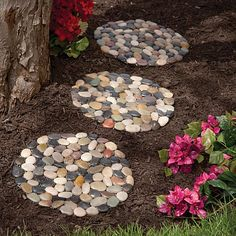 "River Stone Stepping Stones, Item # 47066.  $14.99.  Create a pretty garden accent or a unique footpath; these river stone garden mats are great just about anywhere in your yard. Each circular mat measures 12"" in diameter and is covered with smooth polished stones which are comfortable to walk on. Better than paving, these stone mats are remarkably non-slip but are still movable. Invisible net backing creates a natural look and holds stones in place through all kinds of weather. Set of 3."