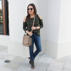 Fall Outfit | Camo Tee | Peep Toe Booties | Lady in Violet Fashion Blog