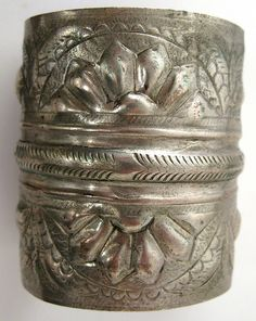 Old worn silver hallmarked Siwa cuff, Egypt.