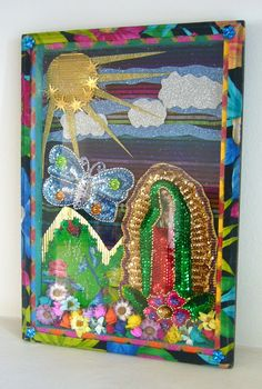 Original folk art - Mexican mixed media collage landscape scene with Virgin Mary