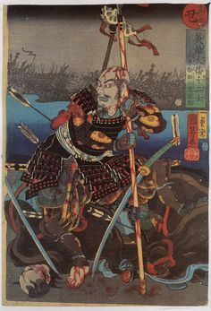 oblighetto:  2. Ox - Yamamato Kansuke Nyudo Doki, fatally wounded at Kawanakajima, leaning on his spear and resting on a dead horse; river and silhouetted warriors behind. Utagawa Kuniyoshi 歌川国芳 Japanese heroes of the twelve signs 英雄山倭十二士