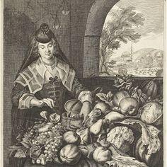 Maand september voorgesteld als vrouw bij tafel overladen met groenten en fruit, Cornelis van Dalen (II), after Joachim von Sandrart, 1648 - 1715 - Rijksmuseum