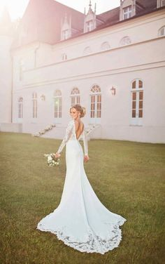 Wedding Dress Vintage Long-Sleeved Wedding Dress with Train - Stella York Wedding Dresses - Subtly sexy but totally incredible, this chic long-sleeved wedding dress with an extended train is truly a one-of-a-kind lace and crepe masterpiece. How To Dress For A Wedding, Wedding Dress Organza, Wedding Dress Train, Stunning Wedding Dresses, Long Wedding Dresses, Long Sleeve Wedding, Wedding Dress Sleeves, Colored Wedding Dresses, Bridal Dresses