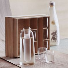 Deluxe Wooden Sake Gift Set: Glass Sake Cups with Pitcher