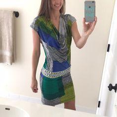 BCBG Multicolor Midi Dress Authentic BCBG MaxAzria midi dress, soft & stretchy material, vibrant color.  Label reads 'xxs' but I would recommend closer fit to adult size small.           No damage, in new condition! BCBGMaxAzria Dresses Midi