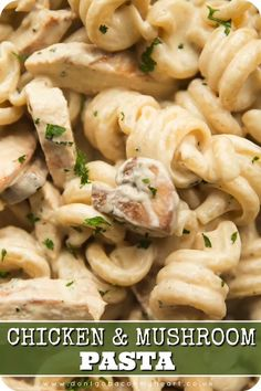 This Creamy Chicken and Mushroom Pasta is so. This Creamy Chicken and Mushroom Pasta is so simple to make yet absolutely bursting with flavour. Say hello to your new go-to creamy pasta recipe! Pasta Recipes Video, Creamy Pasta Recipes, Chicken Recipes, Cooking Recipes, Healthy Recipes, Recipe Chicken, Recipe Pasta, Recipe Videos, Simple Pasta Recipes