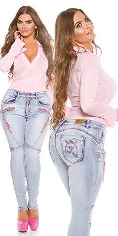 Damen Koucla Push Up Jeanshose Skinny Jeans Hose mit Schnürung
