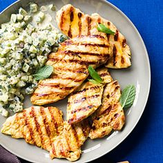 Fast & Fresh healthy recipes | Grilled Yogurt Chicken with Cucumber Salad | Sunset.com