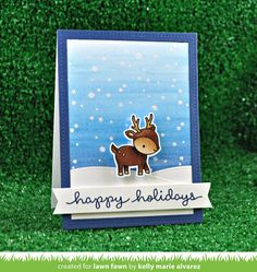 Lawn Fawn Intro: Snowy Backdrops Stamps and Snowy Backdrop Die - Lawn Fawn Christmas Cards 2018, Stamped Christmas Cards, Xmas Cards, Holiday Cards, Christmas 2017, Christmas Greetings, Christmas Time, Christmas Crafts, Fall Cards