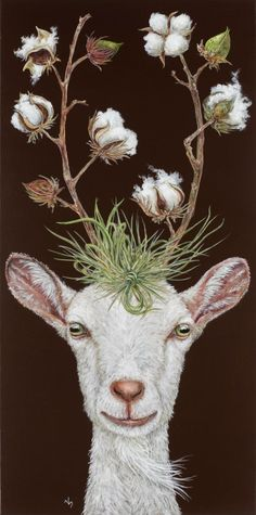 Vicki Sawyer painting - Cotton and goats: two of my favorite things! Art And Illustration, Illustrations, Fantasy Kunst, Fantasy Art, Goat Art, Whimsical Art, Animal Paintings, Pet Portraits, Pet Birds