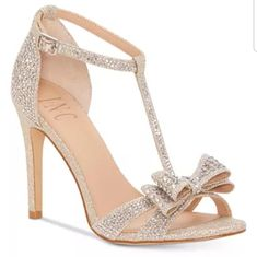 Women's Reesie Rhinestone Bow Evening Sandals, Created for Macy's Woman Shoes macys shoes woman Sparkly Heels, Bow Heels, Strap Heels, Ankle Strap, High Heel Pumps, Pump Shoes, Shoes Heels, Shoes Sneakers, Flat Shoes