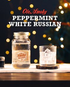 As if a White Russian wasn't good enough already. Spice up this classic cocktail with Ole Smoky Peppermint Moonshine. Start with crushed candy cane on the rim if you're feeling fancy. Mix 2.5oz of Ole Smoky Peppermint Moonshine with .75oz of coffee liqueur and .75oz half & half. Shine responsibly, y'all. Sparkling Drinks, Holiday Cocktails, Party Drinks, Cocktail Drinks, Fun Drinks, Yummy Drinks, Alcoholic Drinks, Beverages, Kitchens