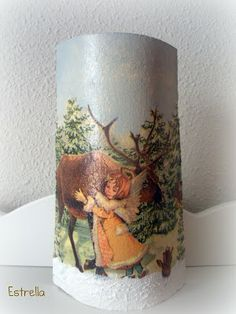 Teja decorada con servilleta, pasta de relieve y pintura acrílica