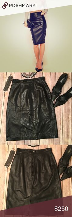 "Bagatelle Genuine Leather Pencil Skirt Gently worn Bagatelle genuine leather black pencil skirt. High waisted and fitted for a sleek sexy look. Back button, zipper and slit (as pictured in 3rd photo). Approx. waist 24"", hips 31"", length 22"". Please use the offer button for all offers and bundle for a bigger discount. Thanks 9 Bagatelle Skirts Pencil"