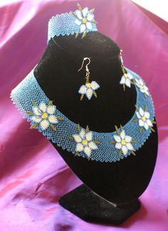 Needle Lace Handmade Necklace Set by AlizeBorealis on Etsy, $34.99