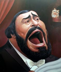 Luciano Pavarotti by Dan Springer Funny Caricatures, Celebrity Caricatures, Celebrity Portraits, Celebrity Drawings, Cartoon People, Cartoon Faces, Funny Faces, Caricature Artist, Caricature Drawing