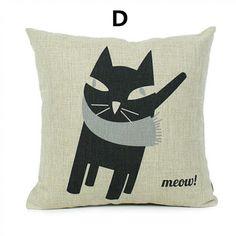 Creative cat throw pillow 18 in comfortable linen cushions