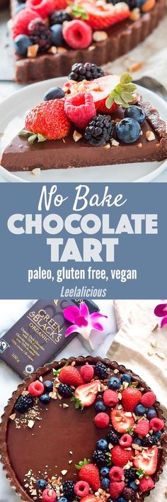 This luscious No Bake Chocolate Tart is vegan, gluten free, and paleo friendly and it also makes a perfect treat for Mother's Day