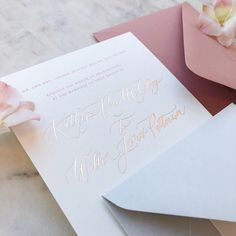 "113 Likes, 10 Comments - Papel & Co. by Nat Otálora (@papelnco) on Instagram: ""Dusty rose and pale gray color palette for this wedding invitation ✨✨"""