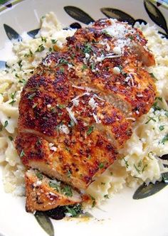 Easy Blackened Chicken with Roasted Garlic Alfredo