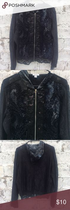 Black Lace & Printed Zip Front Jacket Super adorable lightweight Jaipur jacket. Has black lace going down the front between the zipper and all lace back and arms. Has gorgeous printed detailing on the front and hood and rhinestone detailing on the lace on the front. 100% polyester. It's a really unique piece. Preloved. Size X Large. Jaipur Tops