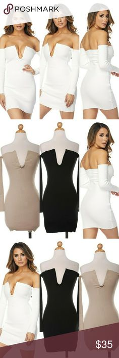 ALL FOR TONIGHT Bone in Deep V Neckline mini dress 95% Polyester 5% Spandex Dresses Mini