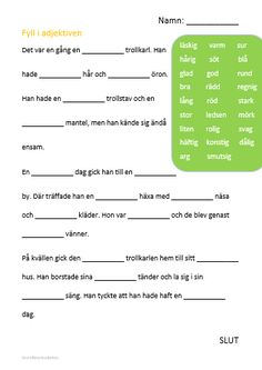 Nedladdningsbart material: Adjektiv Teacher Education, School Teacher, Primary School, Learn Swedish, Swedish Language, Language And Literature, Teacher Hacks, Teaching Materials, Teaching Tips
