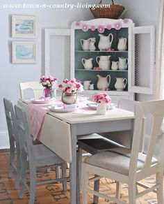 Decorating for Valentine's Day with pink and white