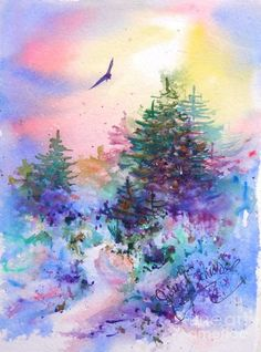 Warm Return by Julie Schroeder - Warm Return Painting - Warm Return Fine Art Prints and Posters for Sale Watercolor Scenery, Watercolor Landscape, Landscape Art, Landscape Paintings, Watercolor Paintings, Watercolors, Landscapes, Watercolor Pencils, Art And Illustration