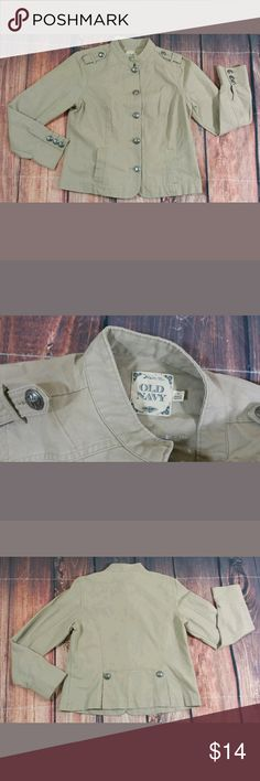 """Old Navy Womens Beige Button Up Jacket Size XL Old Navy Womens Beige Jacket Size XL Eagle Detailed Button Up Condition:  Great Pre-Owned Condition from Clean pet/smoke free home.  Measurements:  Bust (Pit to Pit):  20"""" Length:  24.5"""" Old Navy Jackets & Coats"""