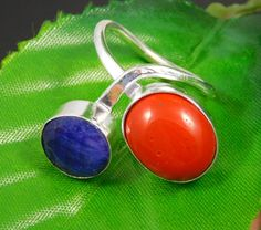 Dyed Blue Sapphire & Coral .925 Silver Handmade Ring Size 8.25 Jewelry JT873 #Handmade