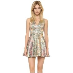 alice + olivia Varita Cutout Dress ($445) ❤ liked on Polyvore featuring dresses, multi, deep v neckline dress, metallic dress, metallic tweed dress, tweed dress and open back zipper dress