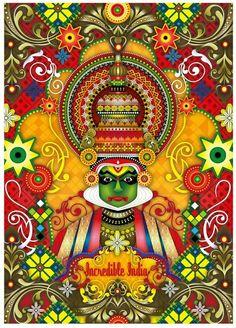 Kathakali dancer, Incredible India  http://www.facebook.com/3elephants.cheraibeach