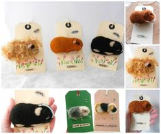 Needle felted guinea pigs - like the badge idea & tag...