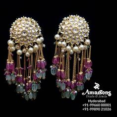 Stunning Polki Hanging with Ruby~Emerald at Amarsons jewellery . For More Info Whatsapp on : 00001 Stylish Jewelry, Luxury Jewelry, Modern Jewelry, Fashion Jewelry, Indian Wedding Jewelry, Indian Jewelry, Bridal Jewelry, Ethnic Jewelry, Gold Jewelry