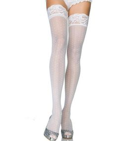 5271a0e11 Leg Avenue Hosiery 6065 - White Stay up Lace Top Mini Polka Dot Thigh High  Stockings