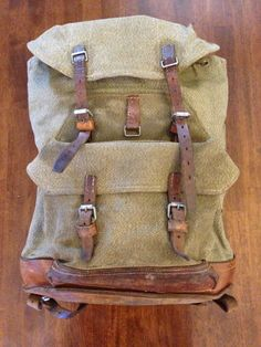 Vintage 1941 WWII Swiss Army Salt Pepper Canvas Leather Rucksack Duffle Pack | eBay