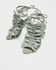 RUFFLED HIGH HEEL LEATHER SANDALS-View all-SHOES-WOMAN  2ef6d15436a2b