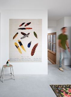 IXXI ® Collection of birds' feathers vanaf - Officiële IXXI ® store Painted Interior Doors, Interior Paint Colors, Interior Design Boards, Apartment Interior Design, Blank Walls, Wooden Shelves, Colorful Interiors, Interior Architecture, Feather